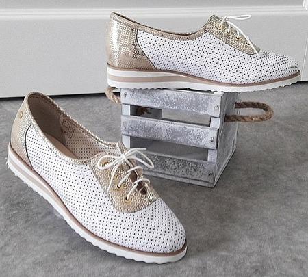 półbuty skórzane ażurowe buty maltaro